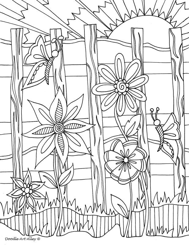 Flowers Along The Fence Flower Coloring Pages Coloring Pages