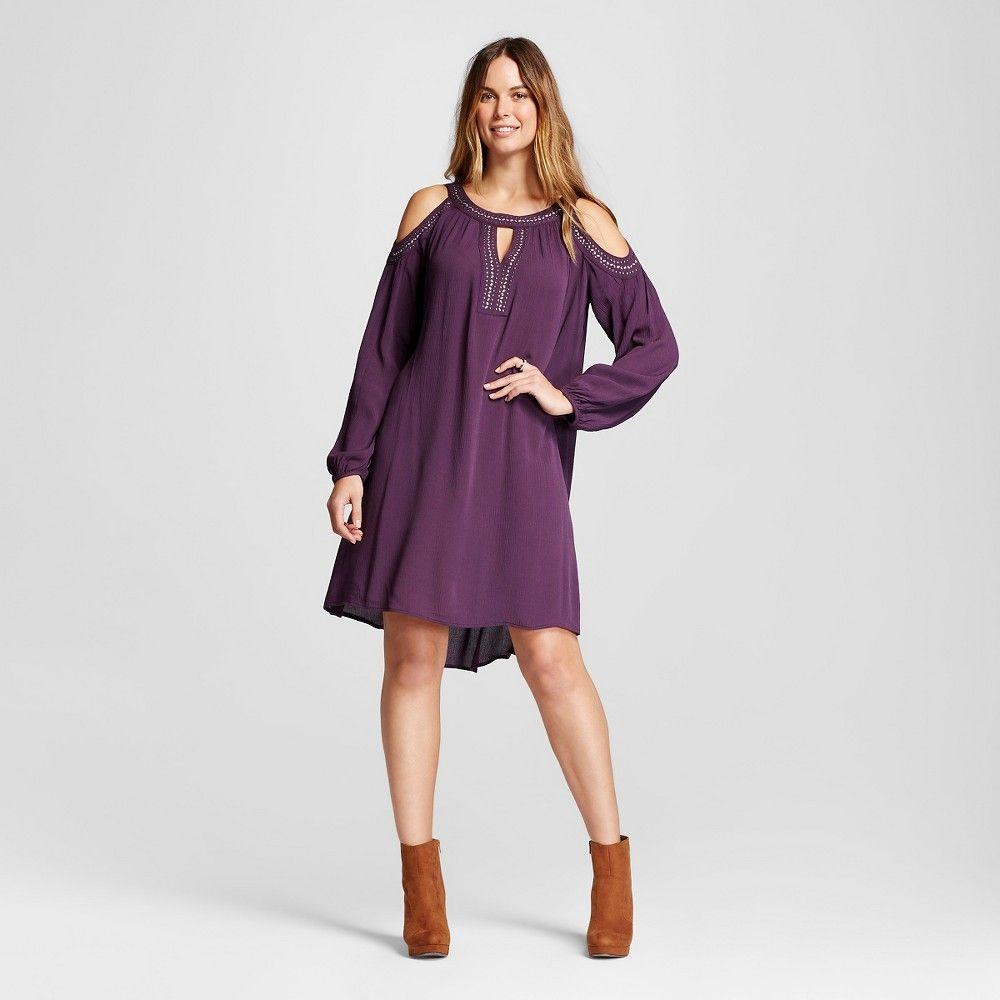 Women\'s Embellished Cold Shoulder Dress Purple Xxl - Knox Rose