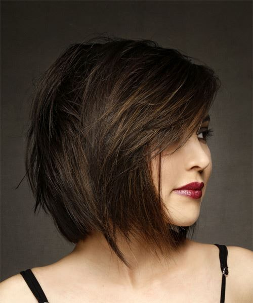 Short Straight Brunette Bob Haircut With Side Swept Bangs Medium Brunette Hair Short Bob Hairstyles Medium Hair Styles