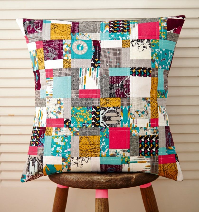 Dissapearing nine patch cushion by Julie Rutter for Issue 18 of Love Patchwork & Quilting magazine