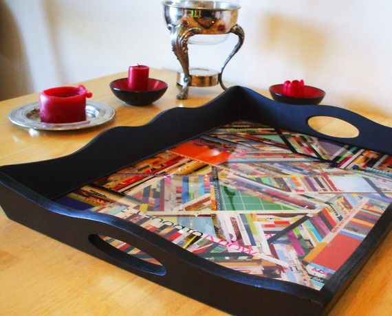 wooden serving tray  gift giving  paper stripes  by EdensEndeavors, $45.00