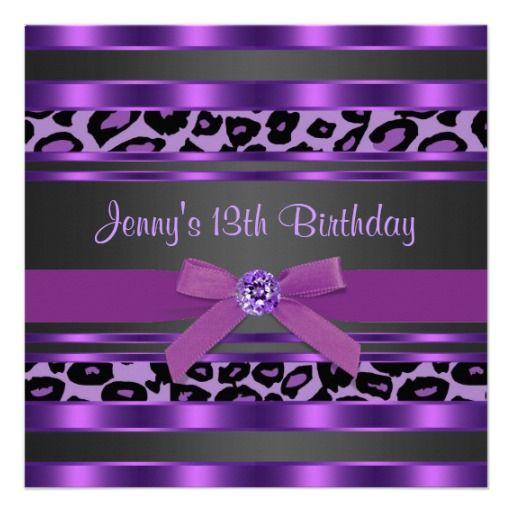 Purple leopard girls 13th birthday party custom invites custom purple leopard girls 13th birthday party custom invites filmwisefo Gallery