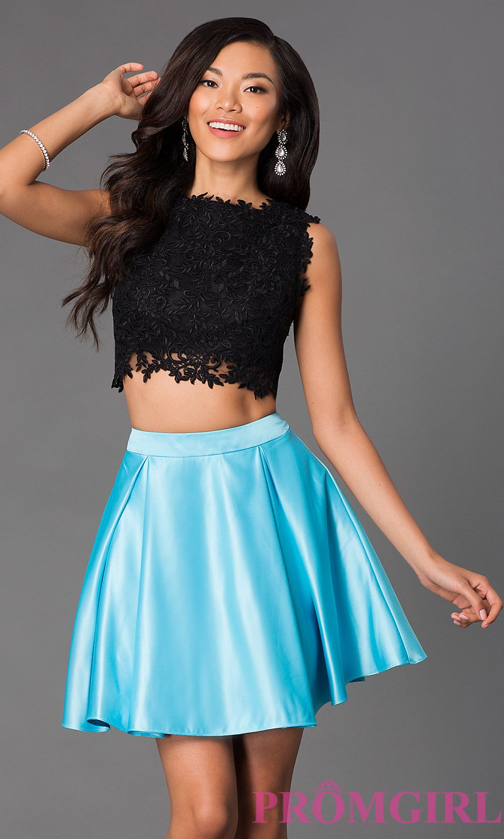Image of short a-line two piece sleeveless lace bodice dress Front ...