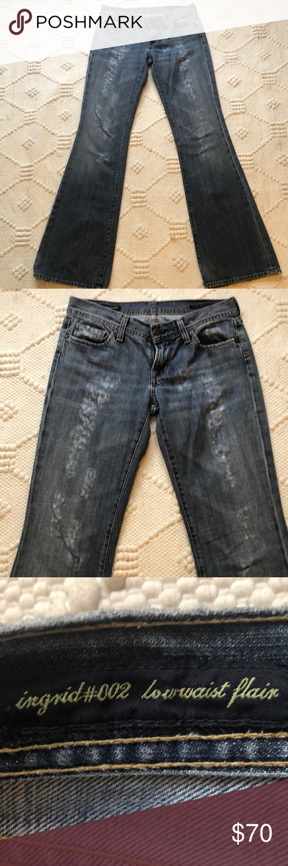 Citizens of Humanity Distressed Jeans Perfectly distressed Citizens of Humanity Distressed Jeans. Ingrid#002 low waist flair jeans. Excellent condition. These are a must have for fall!  Size 28 Citizens Of Humanity Jeans Flare & Wide Leg