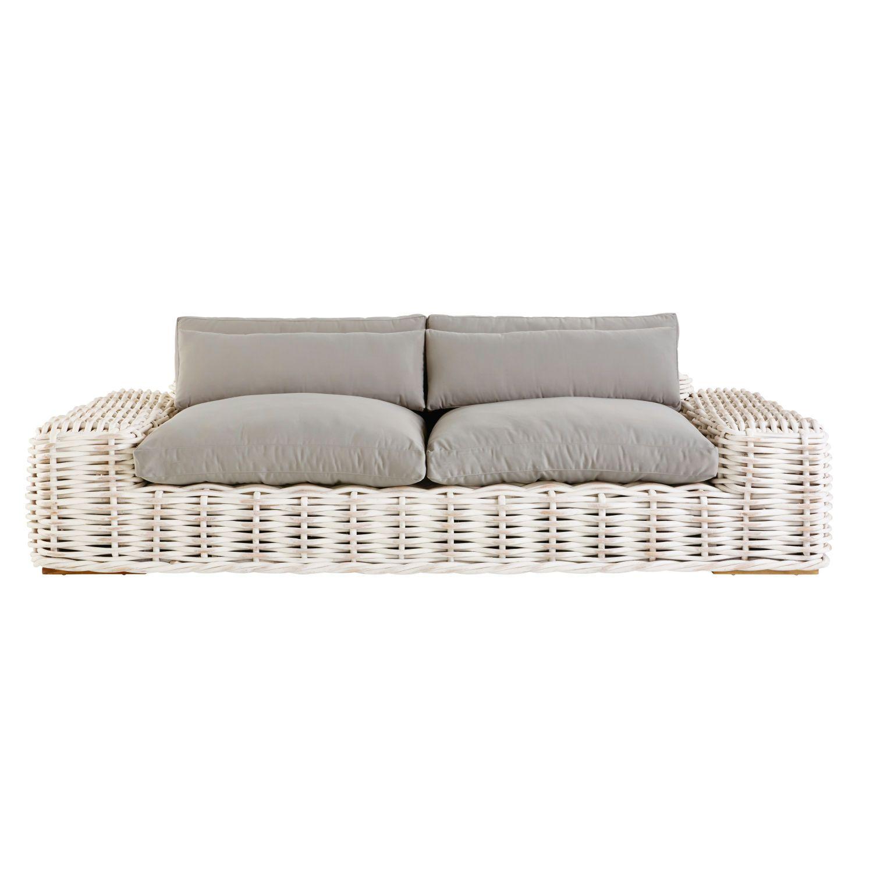 Light Gray 3 Seater Rattan Outdoor Sofa In 2020 Garden Sofa Outdoor Sofa Sofa