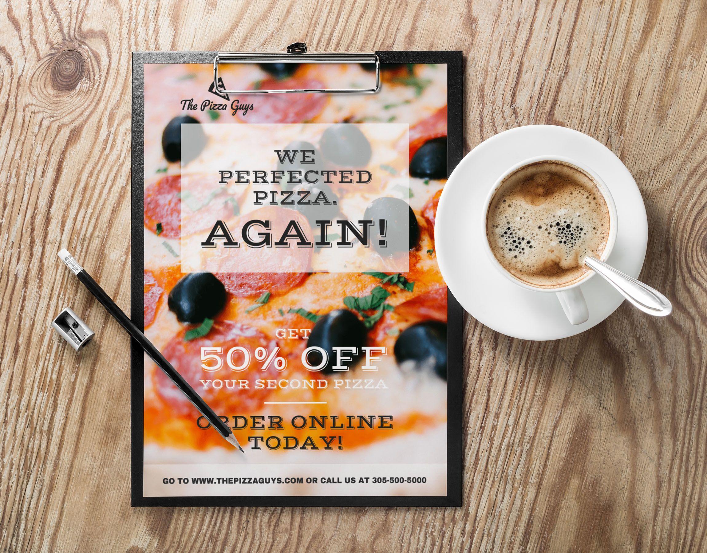 Eye Catching Transparent Pizza Restaurant Flyer Idea