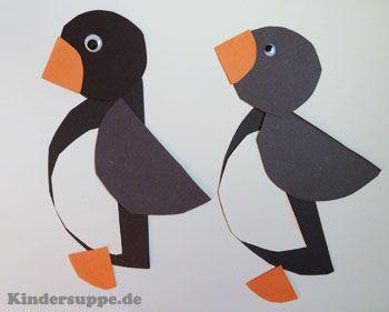 Kreis pinguine basteln mit formen winter pinterest - Winter basteln kindergarten ...
