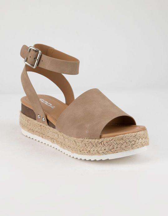 1cf154ff53d SODA Topic Natural Womens Espadrille Flatform Sandals