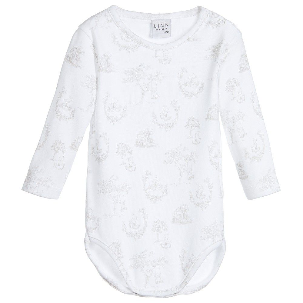 White cotton baby bodyvests by Linn. Made in soft cotton jersey, one vest has an toile de jouy teddy bear print and the other has a small cameo teddy bear print on the chest. Both vests have shoulder and between the legs popper fastenings for easy changing.