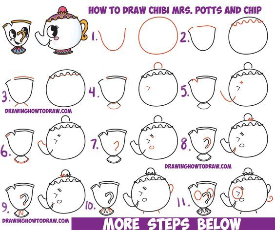 How to Draw Cute Kawaii / Chibi Mrs  Potts and Chip from