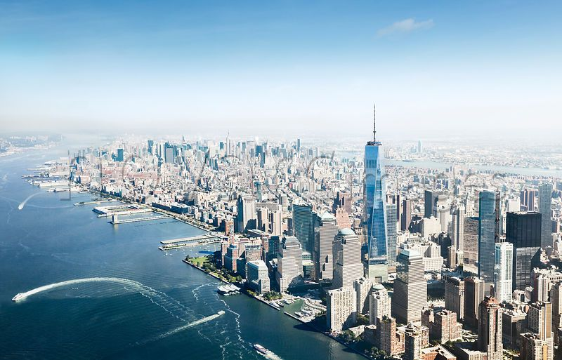 Aerial view of Manhattan with One World Trade Center, New York, USA