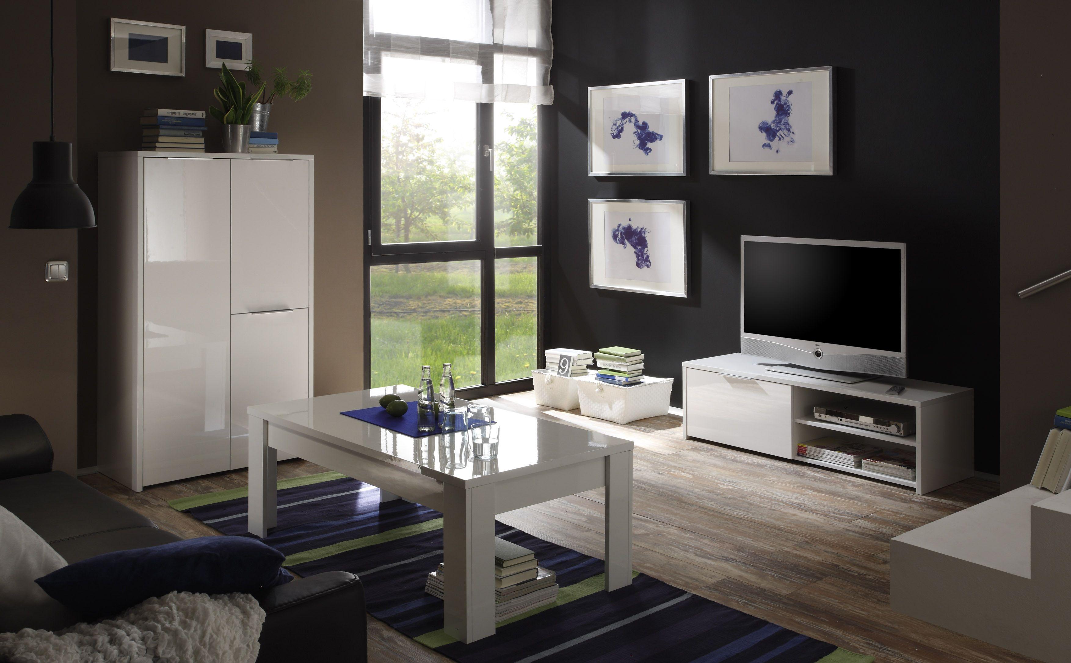 Wohnzimmer Weiss Echt Hochglanz Lackiert Woody 12-00659 Holz modern ...