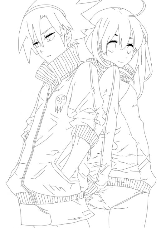 Soma and maka from soul eater coloring page free printable