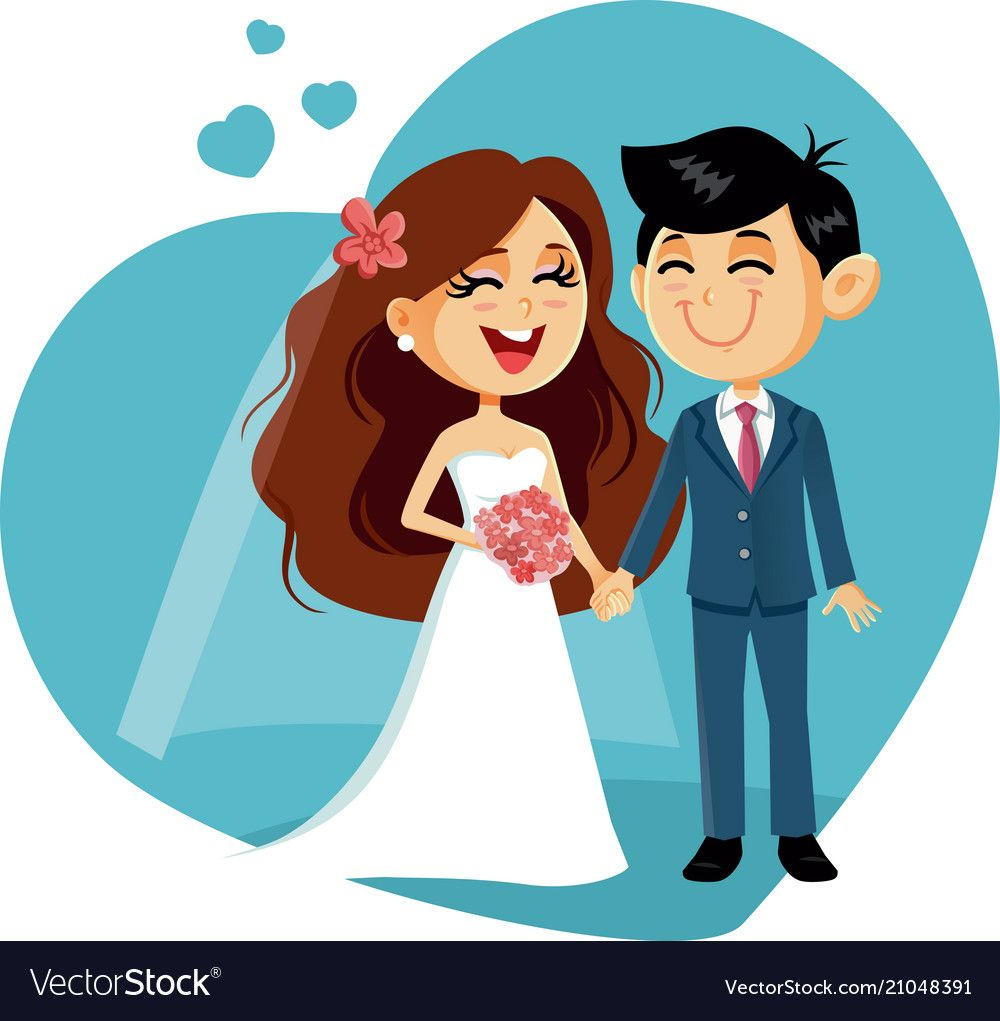 Happy Wedding Couple Invitation Vector Image On Vectorstock Wedding Couples Cute Love Cartoons Happy Wedding