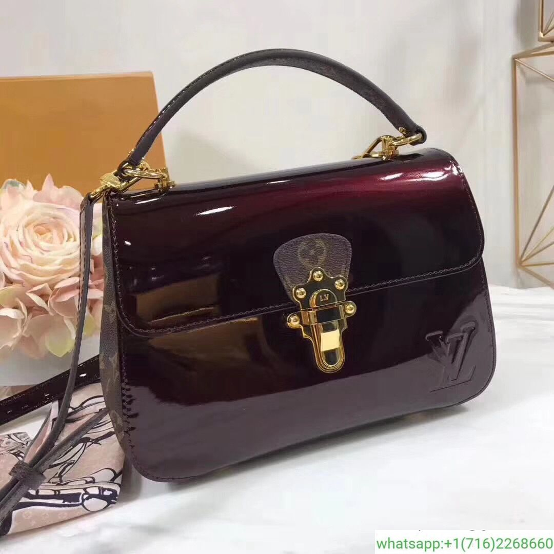 3d5e0205cf86 Louis Vuitton cherrywood patent leather top handle bag red M53352 2018