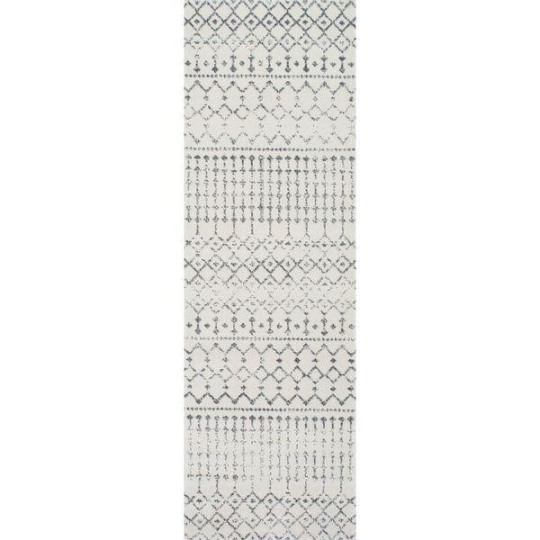nuloom geometric moroccan beads grey runner rug 2u00278 x