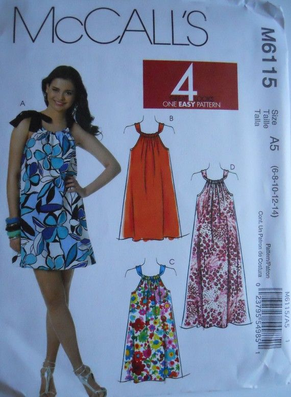 McCall\u0027s Sundress Patterns for Women | McCALL\u0027S Pillowcase Dress Pattern M6115