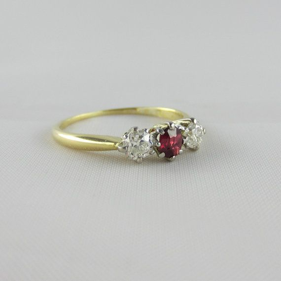 Three Stone Engagement Ring. Old Cut Diamonds & Ruby Circa by Addy, £255.00