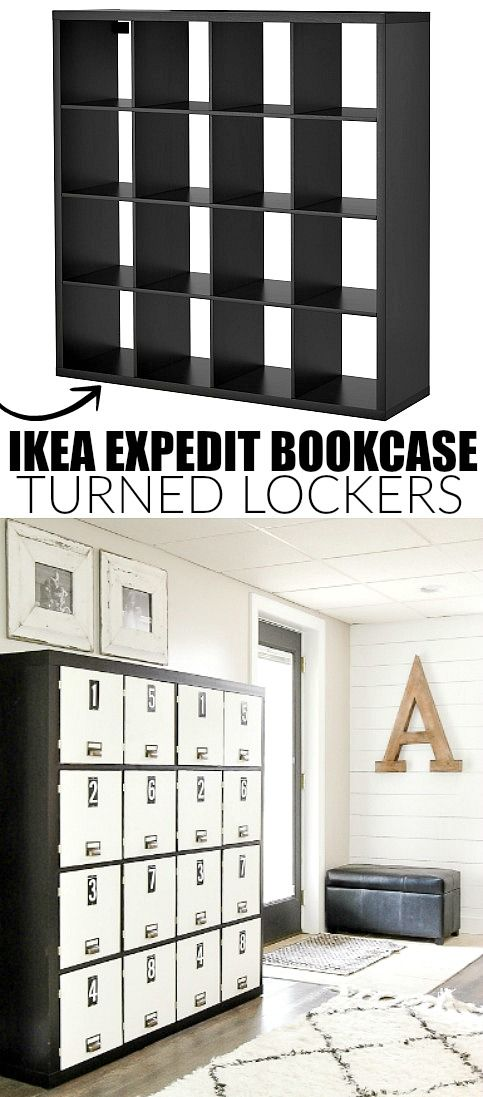 ikea hack how to turn a bookcase into lockers bloggers. Black Bedroom Furniture Sets. Home Design Ideas