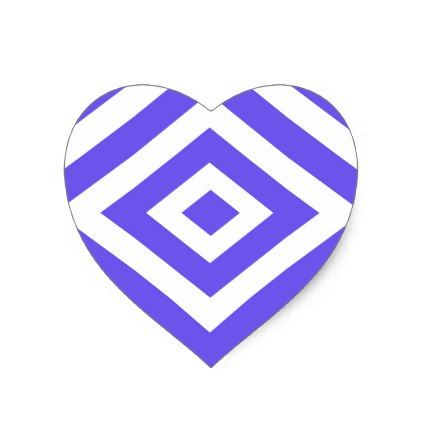 Abstract geometric pattern blue and white heart sticker christmas stickers xmas eve custom