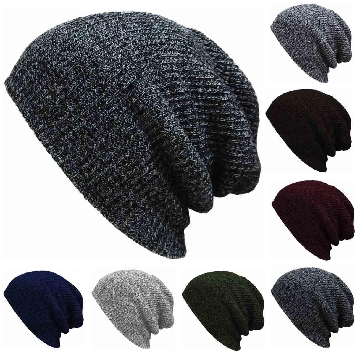 86c99dfffe68b Autumn Winter Men Slouch Skull Oversize Long Beanie Women Baggy Cap Crochet Knit  Ski Hat