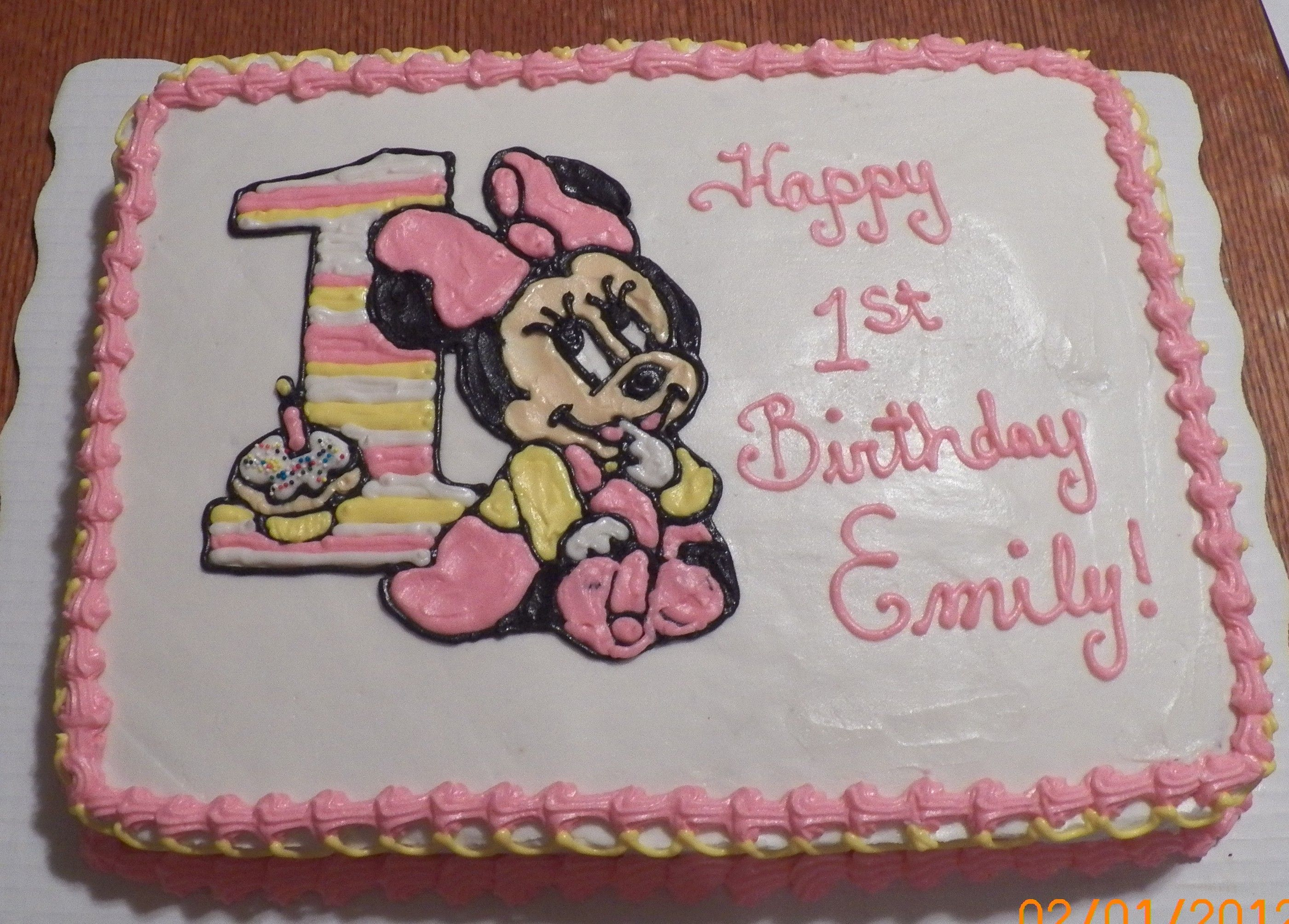 Minnie Mouse 1st Birthday 1/2 Sheet Cake Baby Pinterest
