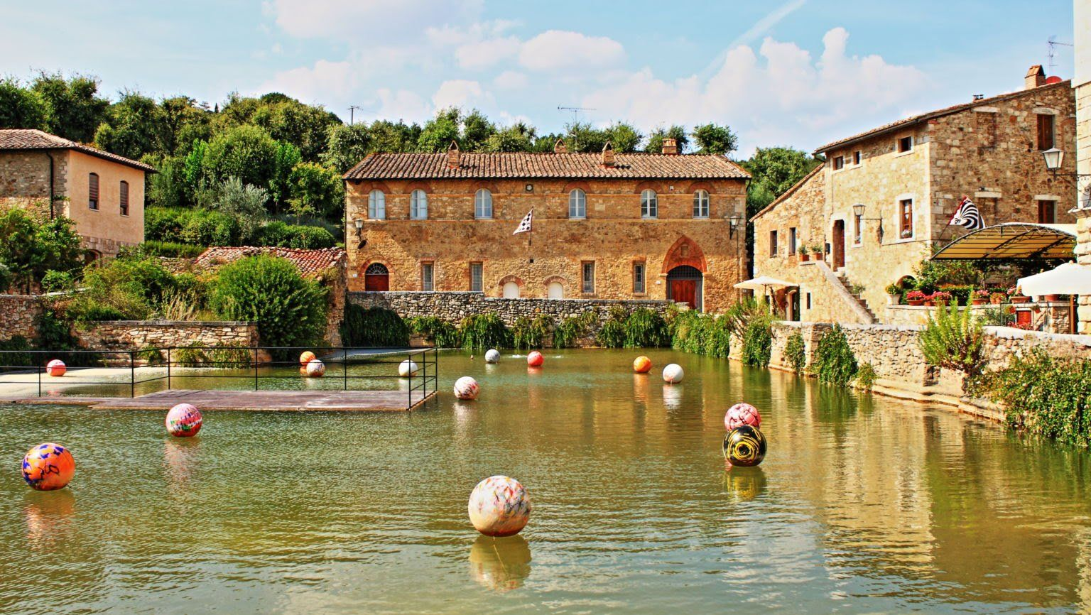 Old Thermal Baths Medieval Village Bagno Vignoni Tuscany Italy