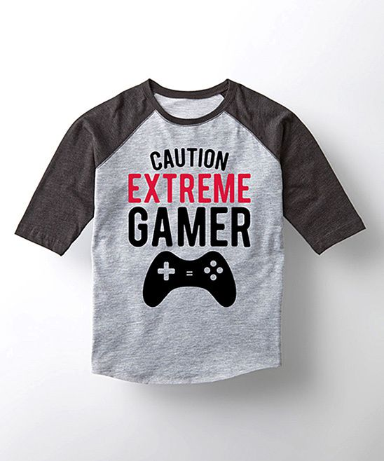Athletic Heather & Black 'Extreme Gamer' Raglan Tee - Toddler & Boys