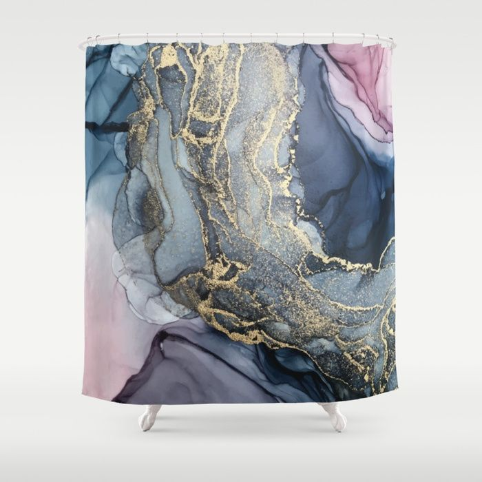 Blush Payne S Gray And Gold Metallic Abstract Shower Curtain 1
