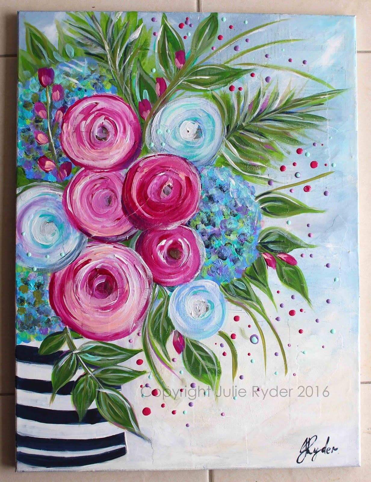 Made By Me Julie Ryder Pintura Floral Arte Con Flores