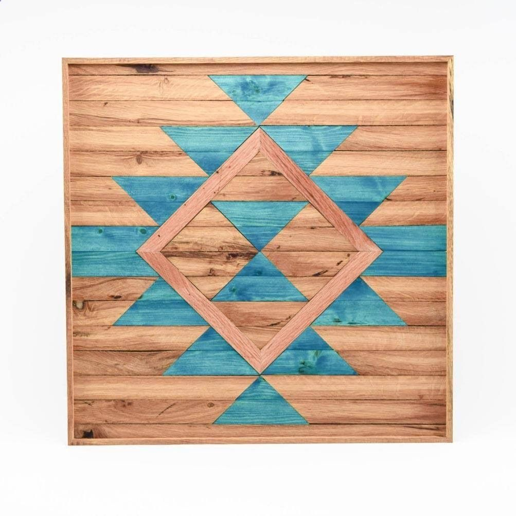 Boho abstract wood wall art blue diy u crafts pinterest wood