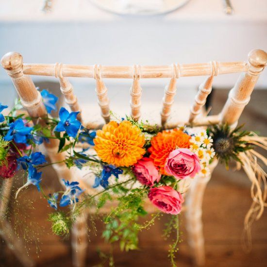 Gorgeously colorful rustic wedding with an outdoor ceremony...