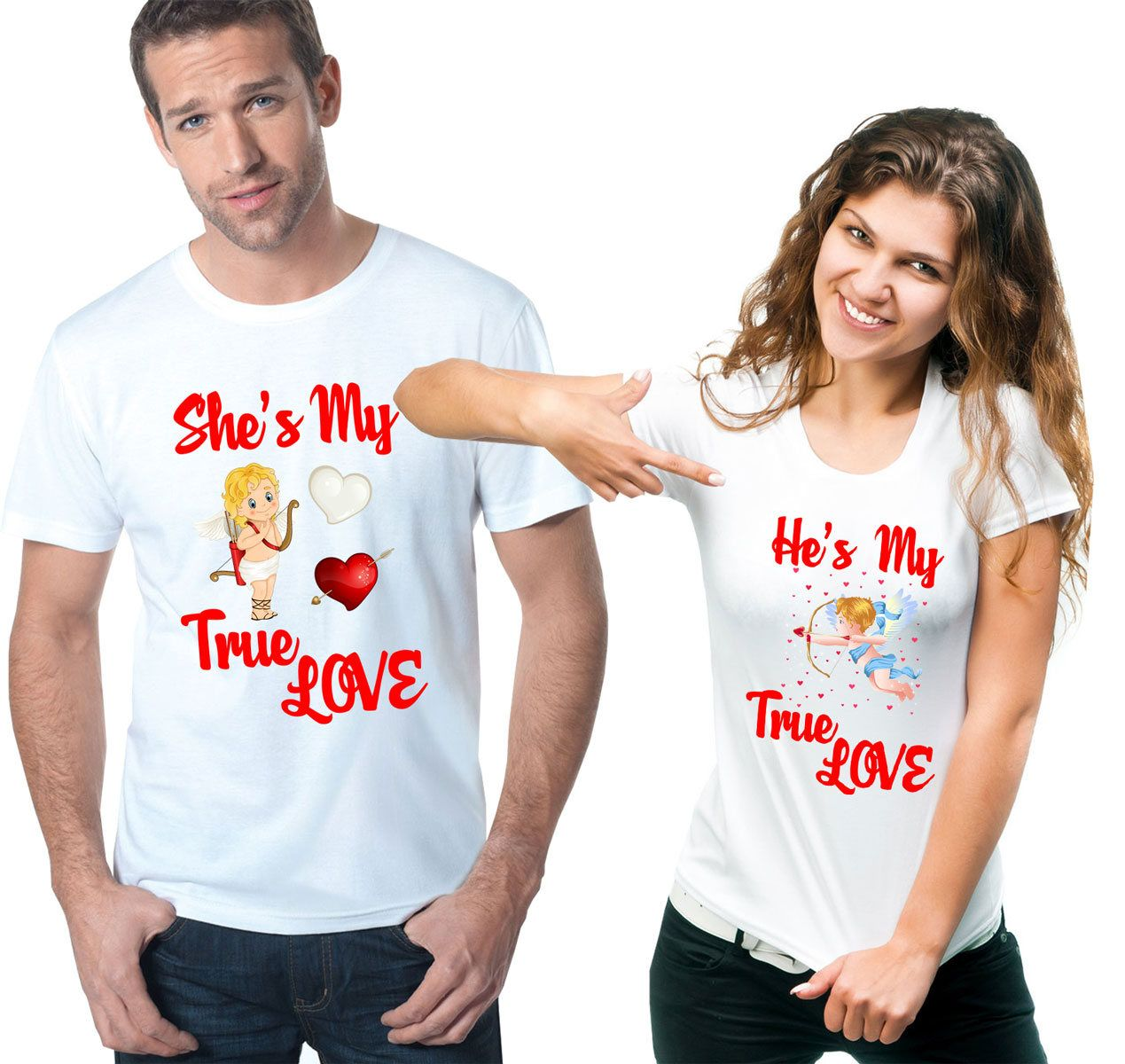 fc9cae28ea Couple Love T-Shirts Valentine's Day Shirts Love T-Shirts He/She's My True Love  Couple T-Shirts Couple Tees Valentine's Day Gift by DesignApparelStore on  ...