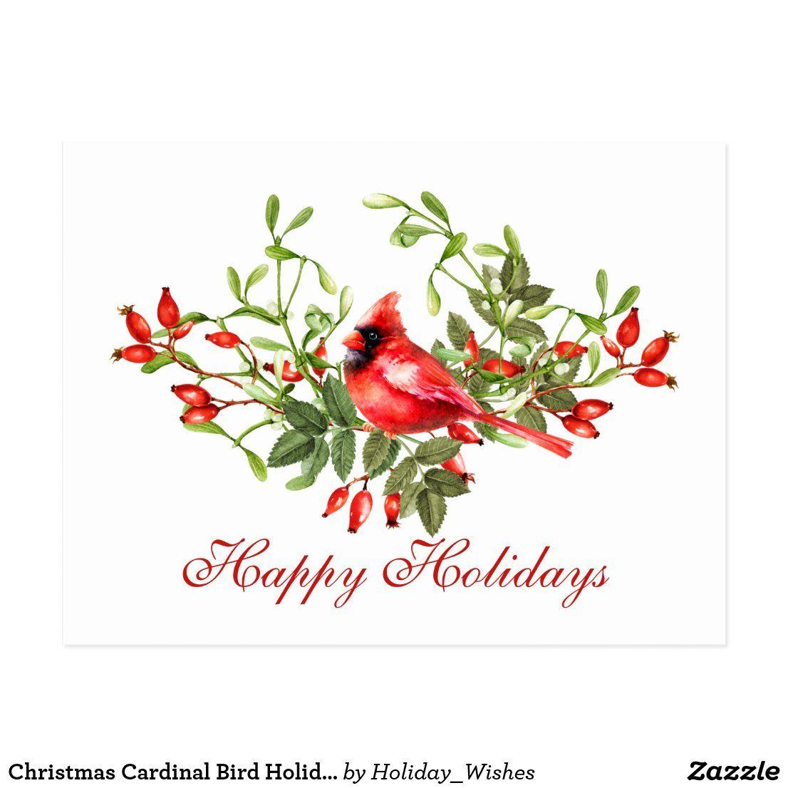 Christmas Cardinal Bird Holiday Corporate Greeting Postcard #zazzle #zazzlemade #christmas #newyear #customparty #partysupplies #custominvitation #invitations #holidaycards #customdecor #holidays #printondemand #customstationery #invitationtemplate #partyinvitation #partydecor #partydecorations #customgifts