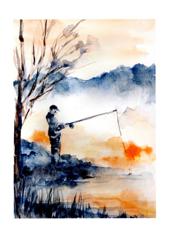 Fine Art Print Of Original Watercolor Painting Fisherman Man