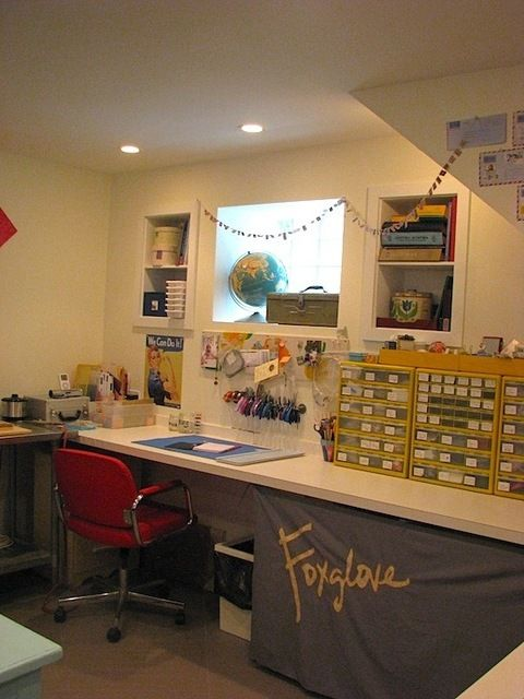 Basement Office Space With Tool And Parts Storage.