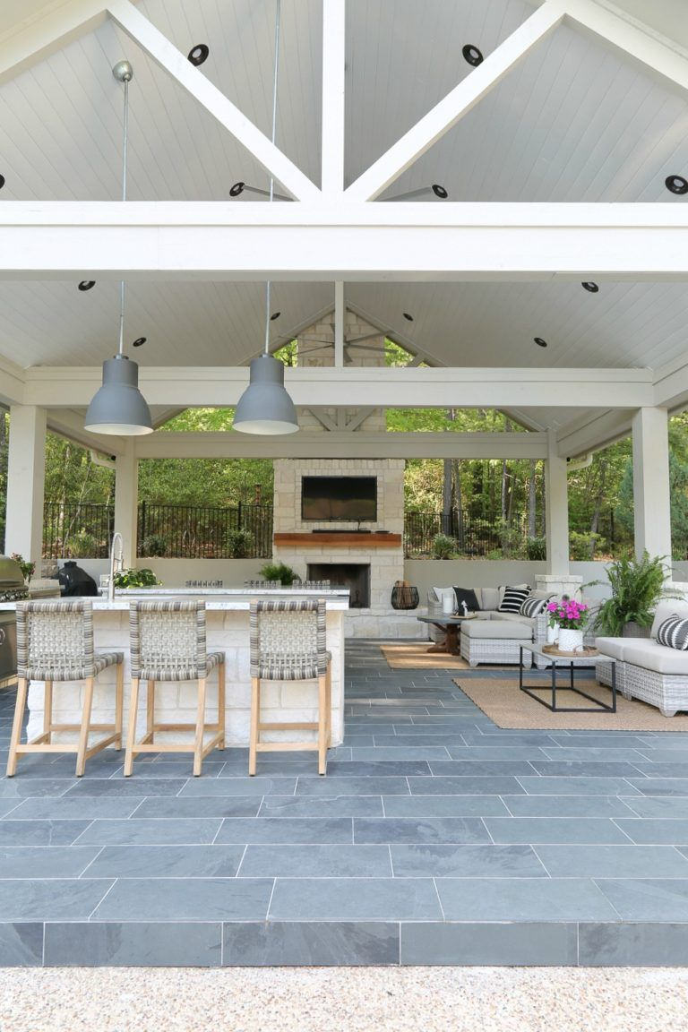 Outdoor kitchen and pool house project reveal out doors