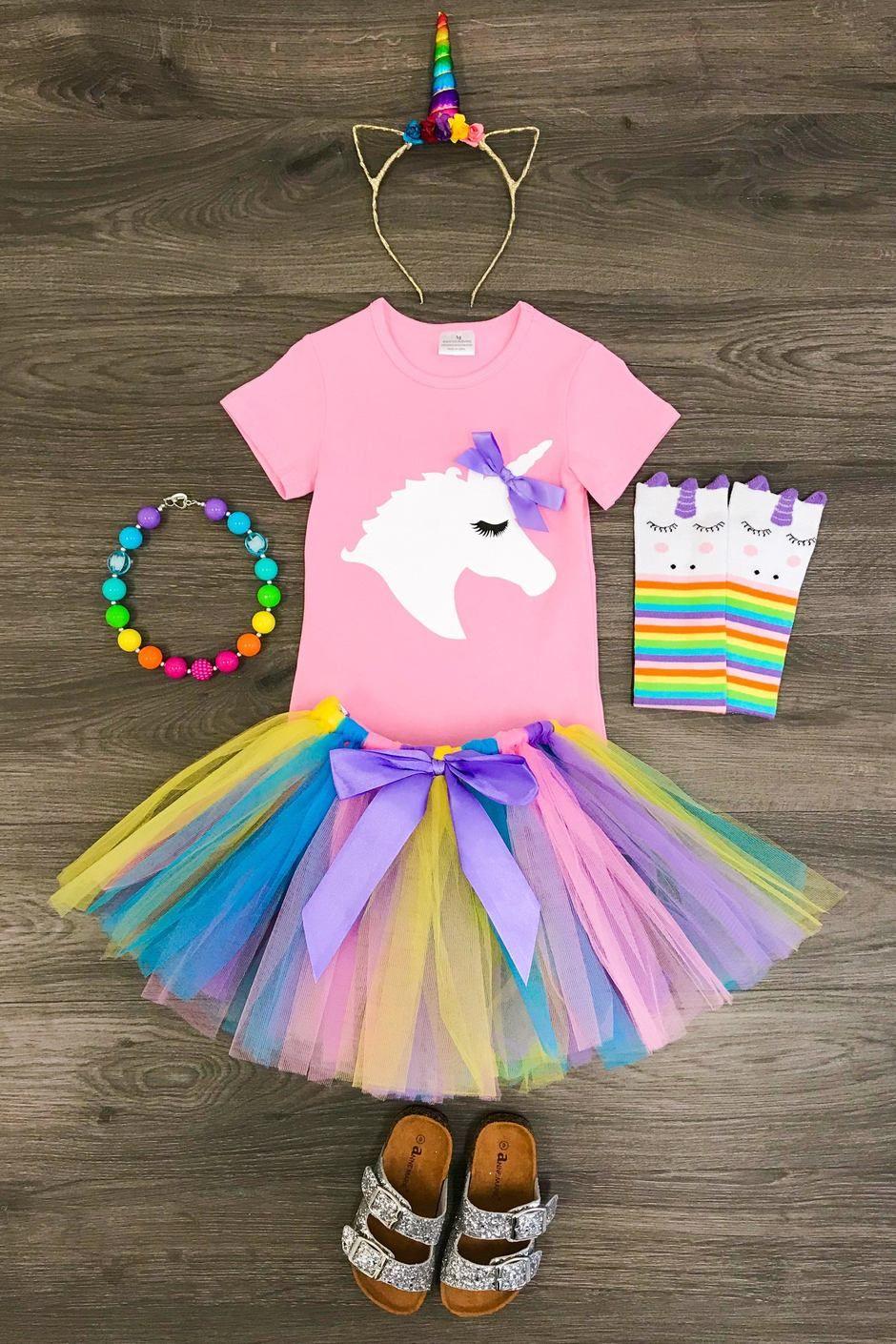 3PCS Big Sister Girls Outfits Long Sleeve Shirt+Rainbow Tutu Skirt+Headband Cute Clothing Sets