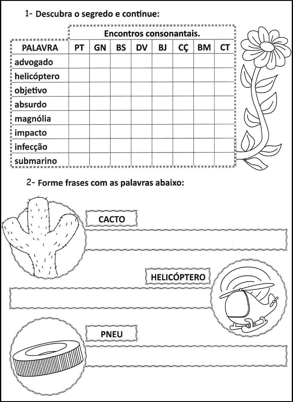 Atividades E Desenhos Encontro Consonantal Exercícios Atividades 3