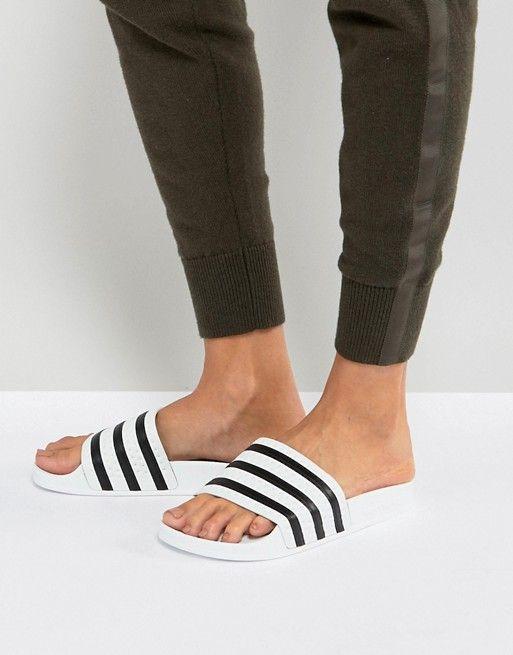 67876723284 adidas Originals Adilette Slider Sandals In White in 2018