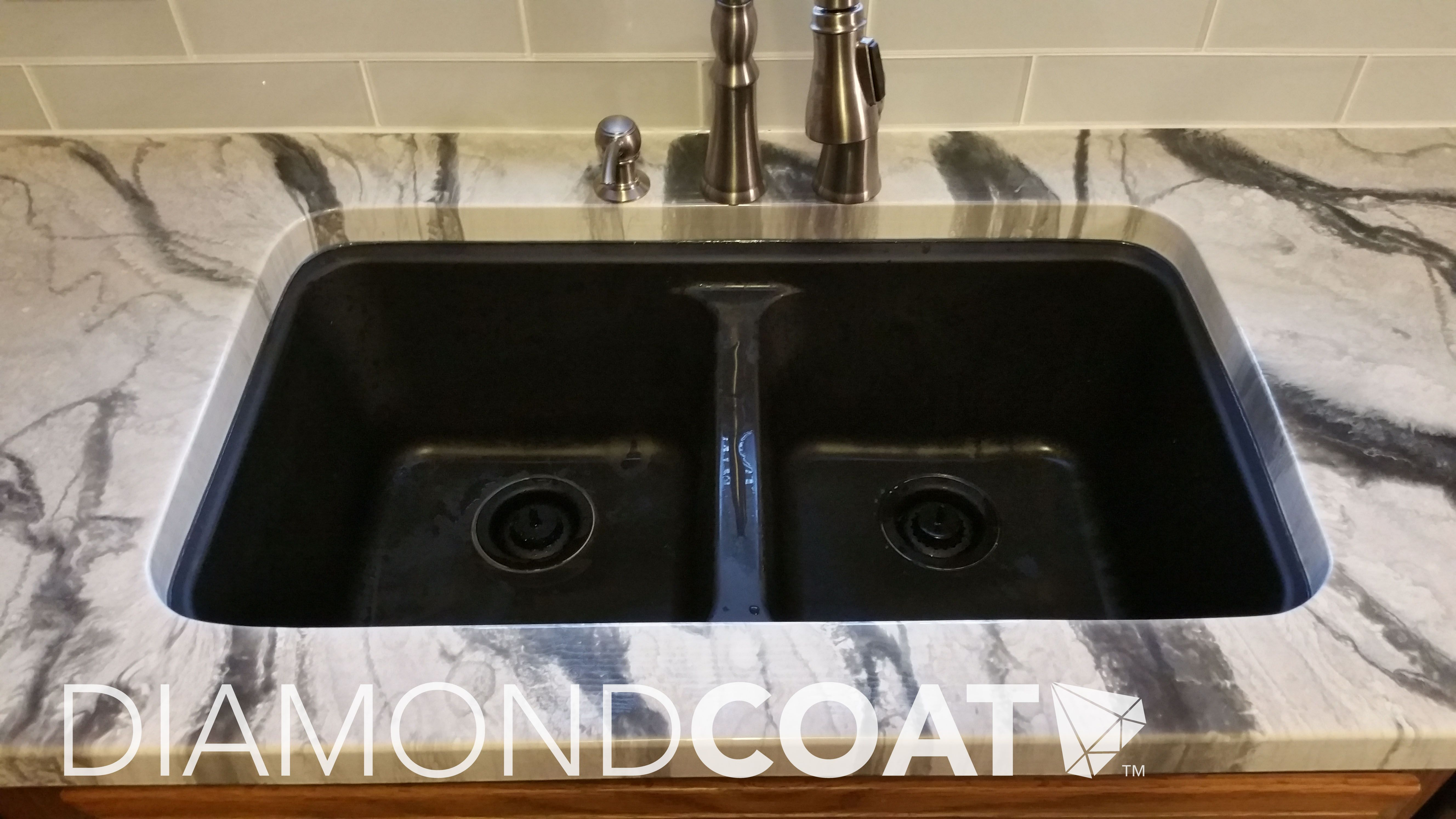 Undermount Sink With White And Black Marble Epoxy Countertop