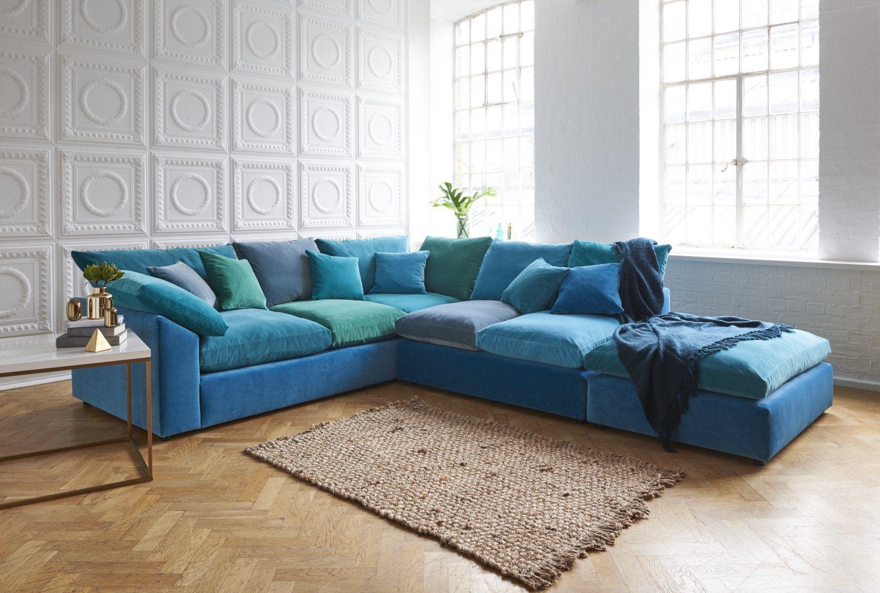 Big Softie large velvet corner sofa in sea blue tones of ...