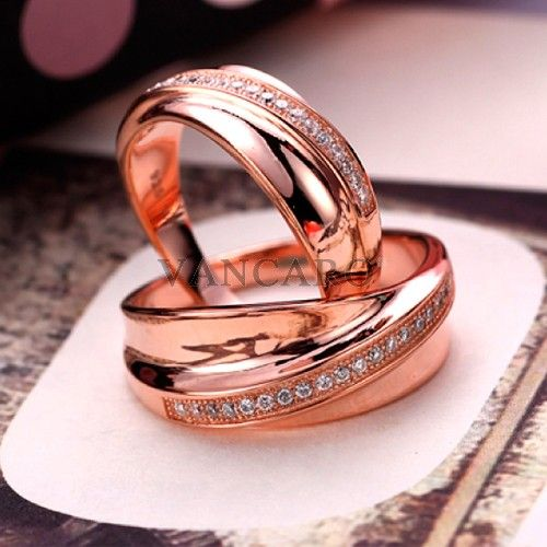 Sweet Love Style 925 Sterling Silver Rose Gold Plated Cubic Zirconia Couple Rings