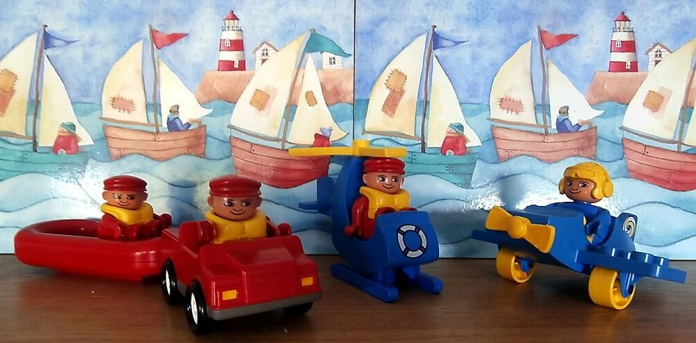 Vintage Lego Duplo Air Sea Rescue Set Lifeboats Helicopter Plane 4