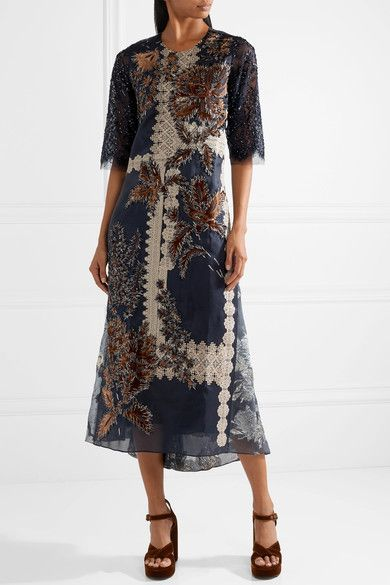 Liesta Lace-trimmed Embroidered Metallic Fil Coup po4cIlamZq