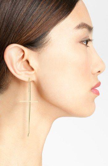 Linear Cross Drop Earrings