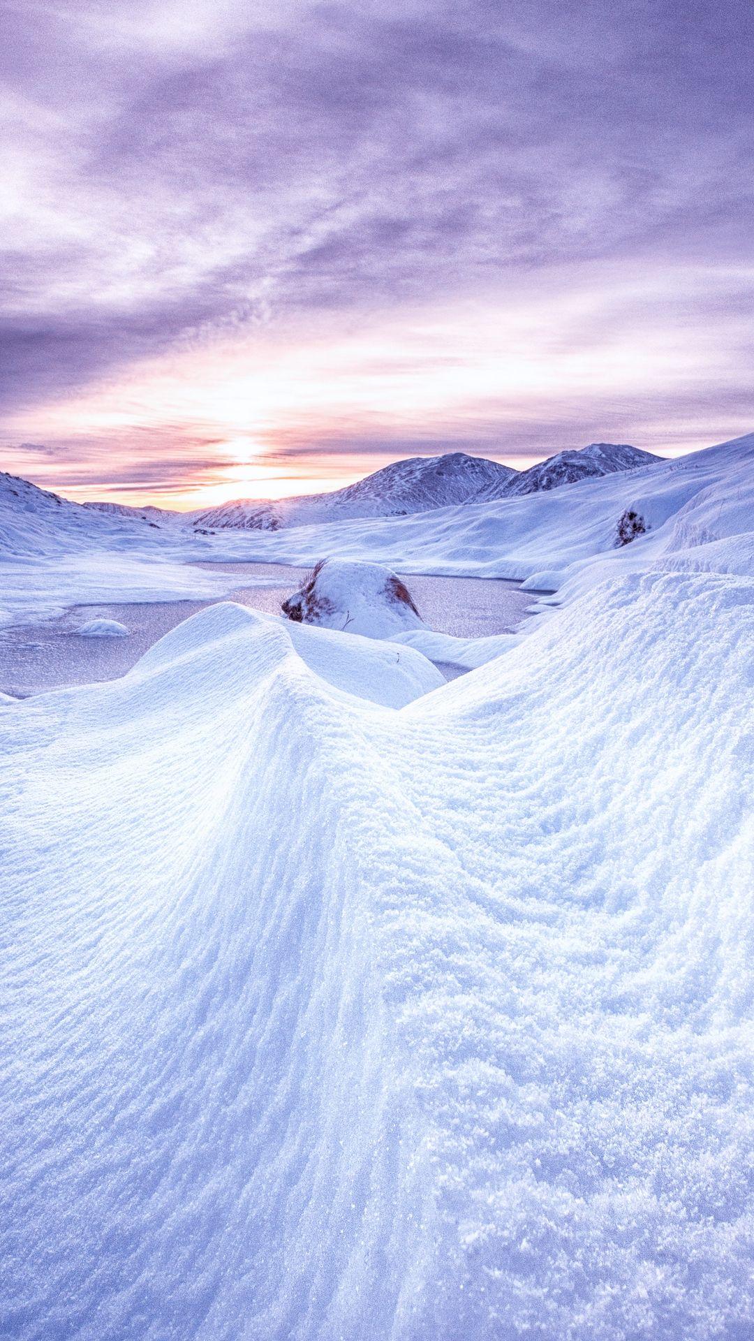 1080x1920 Wallpaper Snow Mountains Dawn Scotland Winter