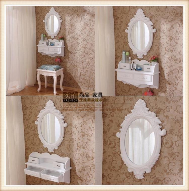 Mini tocador montado en la pared, con estilo europeo y espejo ...