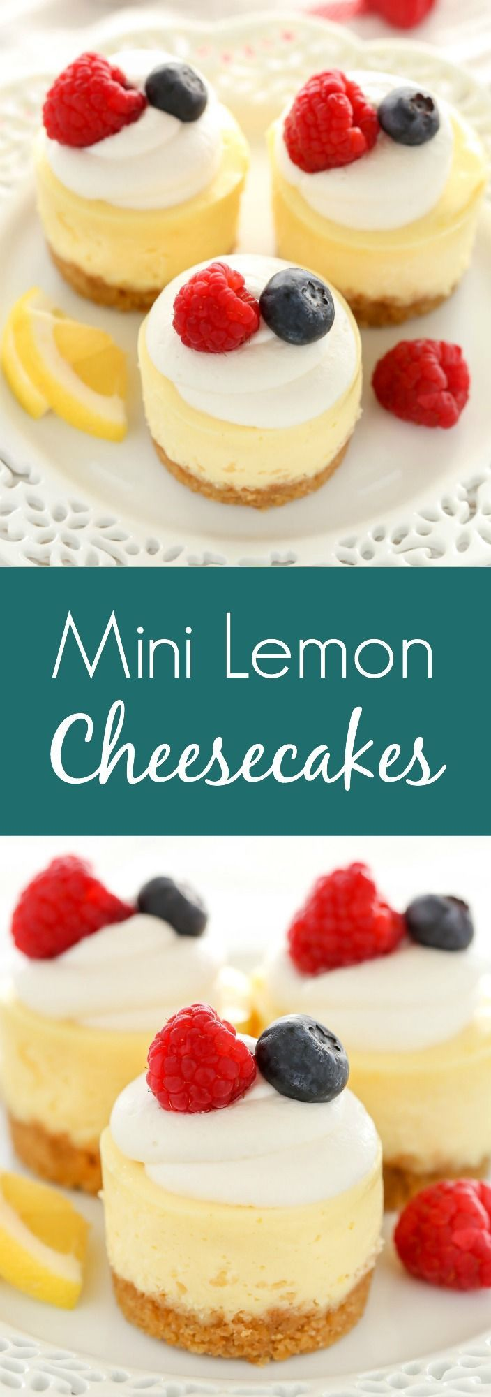 These Mini Lemon Cheesecakes feature an easy homemade graham cracker crust topped with a smooth and creamy lemon cheesecake filling. Top them with some fresh whipped cream and berries for an easy dessert everyone will love! #cheesecakes