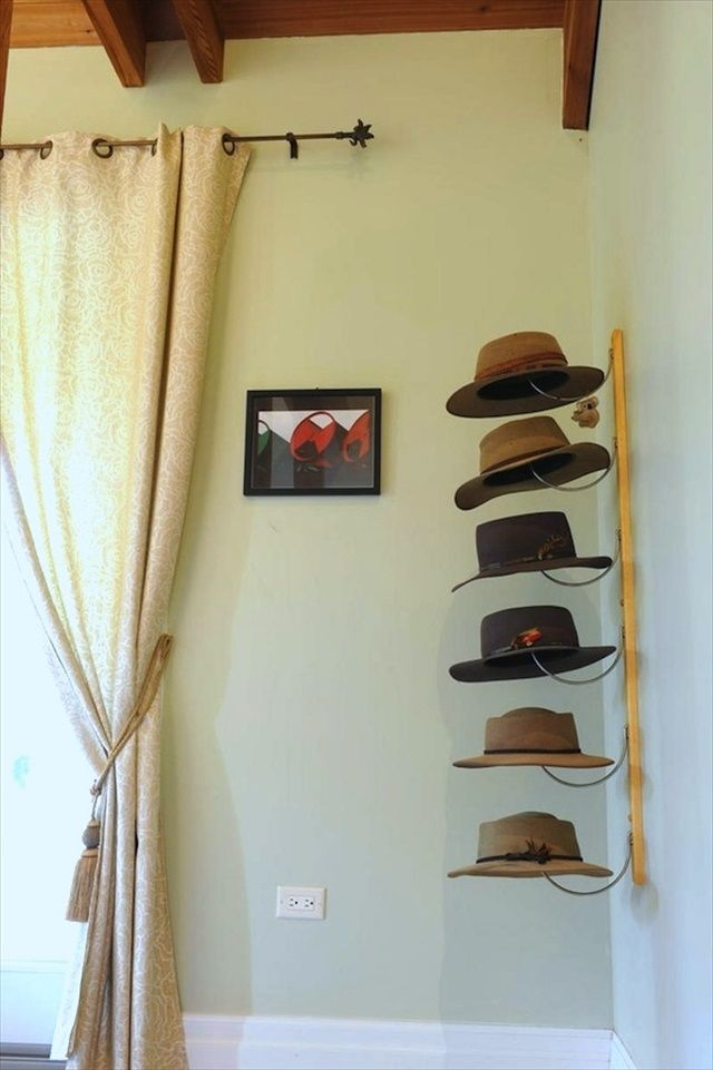 Want Your Hat Look Neater You Can Create Your Own Hat Rack So You Can Spend Less And You Can Diy Hat Rack Creative Storage Solutions Storage And Organization